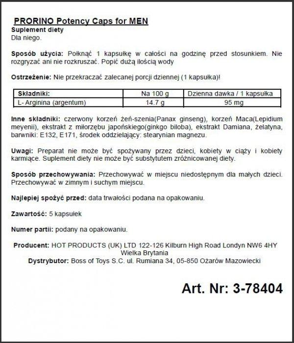 PRORINO Men- 5pcs black line Potency Caps