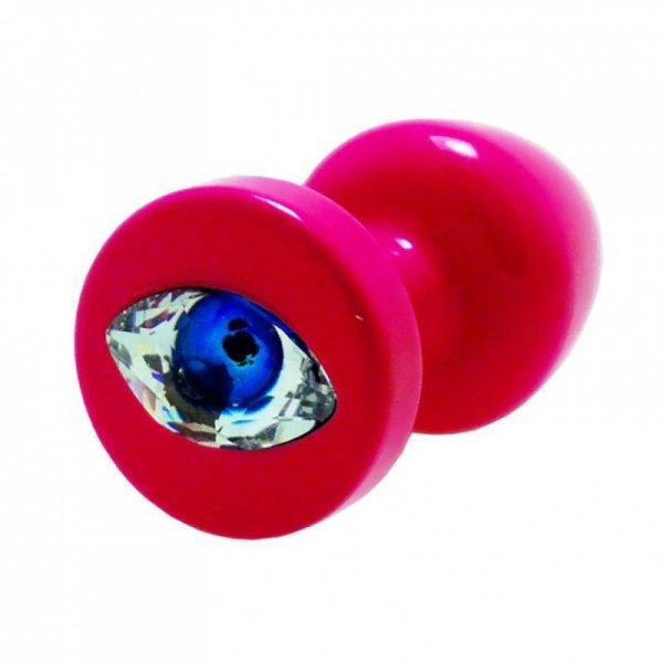 Korek analny ozdobny - Diogol Anni R Eye Pink Crystal Pink 30 mm