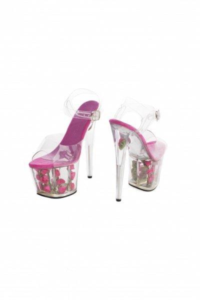Buty platformy z różami fuxia 39