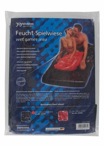 Wet games area, bed sheet,180 x 260 cm, black