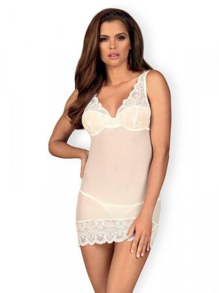 Bielizna-853-CHE-2 koszulka i stringi biała L/XL