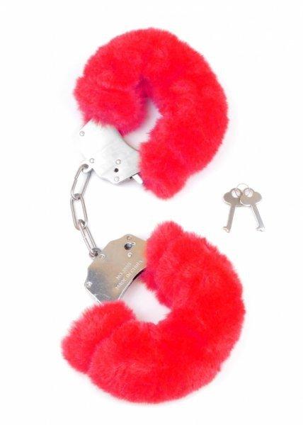 Kajdanki Fetish Boss Series Furry Cuffs Red