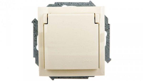 Simon 15 Gniazdo bryzgoszczelne z/u IP44 z klapka transparentną beżowe 1591950-031