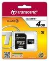 Transcend Karta pamięci microSDHC 4GB Class4 19/5 MB/s + adapter