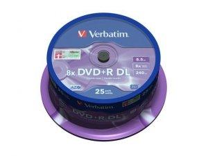 Verbatim DVD+R 8x 8.5GB 25P CB Double Layer 43757