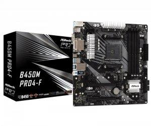 ASRock Płyta główna B450M PRO4-F AM4 4DDR4 DVI/HDMI/VGA 4SATA3 M.2 micro ATX