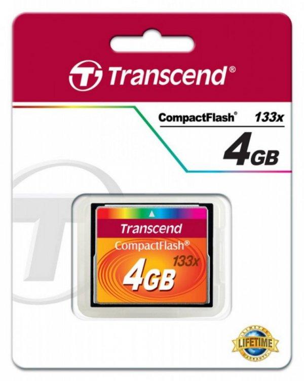 Transcend Karta pamięci CompactFlash 133 4GB 50/20 MB/s