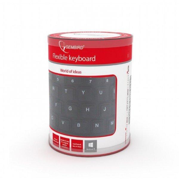 Gembird Klawiatura silikonowa wodoodporna USB z funkcją OTG czarna