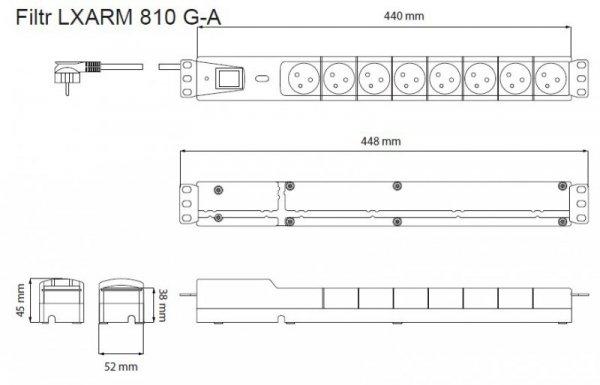 Lestar Listwa przeciwprzepięciowa LXARM 810, 3L, PDU, 5,0m, czarna