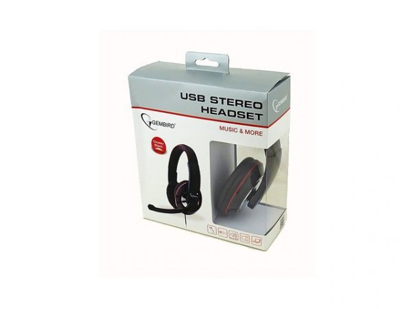 Gembird Słuchawki z mikrofonem MHS-U-001 USB czarne