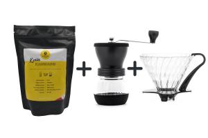 Zestaw Drip Hario v60 -02 + Młynek Skerton Plus + kawa 8 grams speciality