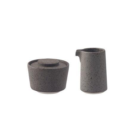 Loveramics Stone - Cukiernica + dzbanek na mleko 125 ml - Granite