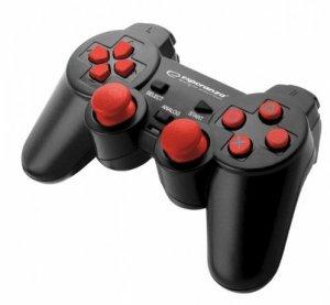 Gamepad Esperanza EGG106R (PC, PS2, PS3; kolor czarny, kolor czerwony)