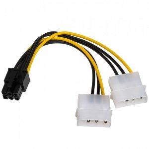 Kabel Akyga AK-CA-13 (Molex 4-pin x 2 F - PCI-E 6-Pin M; 0,15m; wielokolorowy)