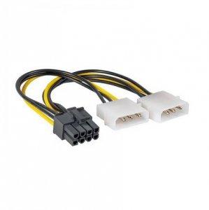 Kabel Akyga AK-CA-29 (Molex 4-pin x 2 - PCI-E 8-Pin M; 0,15m; kolor biały, kolor czarny, kolor żółty)