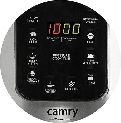 Camry CR 6409 wielofunkcyjny garnek elektryczny 6 L 1000 W Czarny, Stal nierdzewna