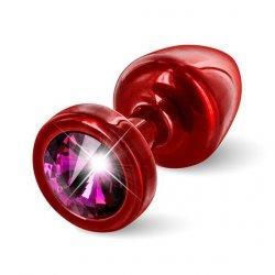 Plug analny zdobiony - Diogol  Anni Butt Plug Round Red & Pink 25 mm Czerwony z różowym