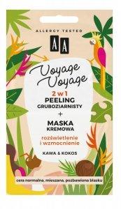 AA Voyage Voyage Peeling gruboziarnisty + Maska kremowa 2w1 Kawa i Kokos  2x5ml
