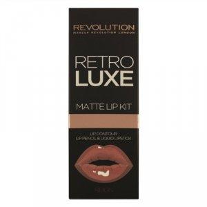Makeup Revolution Zestaw do ust (błyszczyk + kontórówka) Retro Luxe Kits Matte Reign, 2 szt.