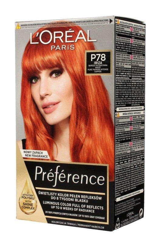 Loreal Preference Farba do włosów nr P78 Ibiza - bardzo intensywna miedź 1op.