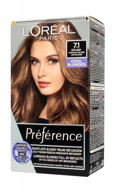 Loreal Preference Farba do włosów nr 7.1 Iceland - popielaty blond  1op.
