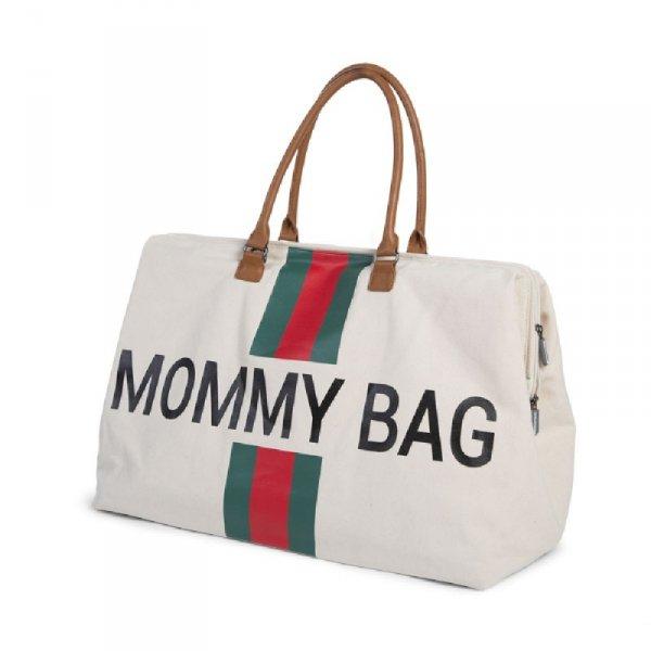 Childhome Torba Mommy Bag Paski Zielono-Czerwone