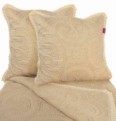 Przepiękna narzuta bawełniana beżowa z koronką 200x220