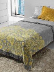 Koc Pantofelek żółto-szary 150x200
