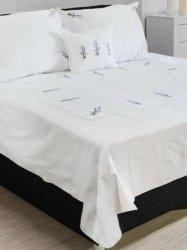 Elegancka pościel bawełniana biała z haftem lawendy 160x200