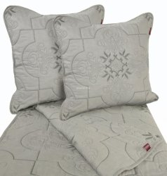 Przepiękna haftowana narzuta bawełniana szara 240x220