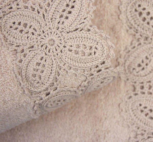 Ręcznik Ula piaskowy z koronką 50x90, 70x140
