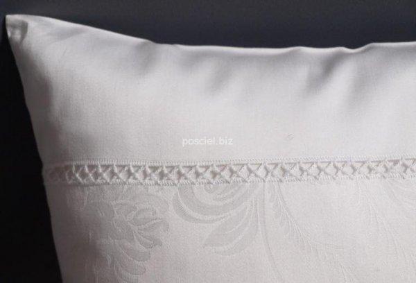 Elegancka pościel żakardowa z włoskiej satyny biała 155x200