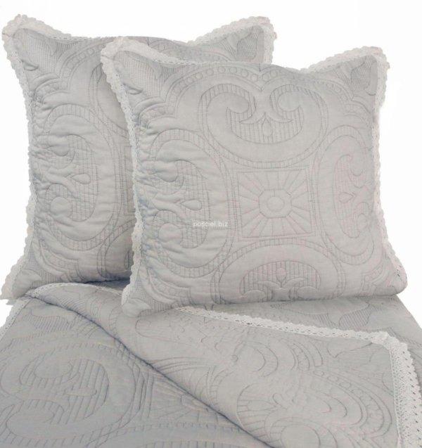 Przepiękna narzuta bawełniana szara z koronką 240x220