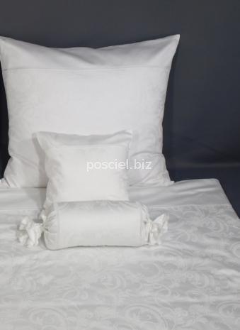 Elegancka poszewka żakardowa z włoskiej satyny biała 40x40
