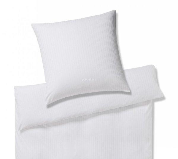 Elegante pościel interlock jersey Solid stripe biała 3507 135x200