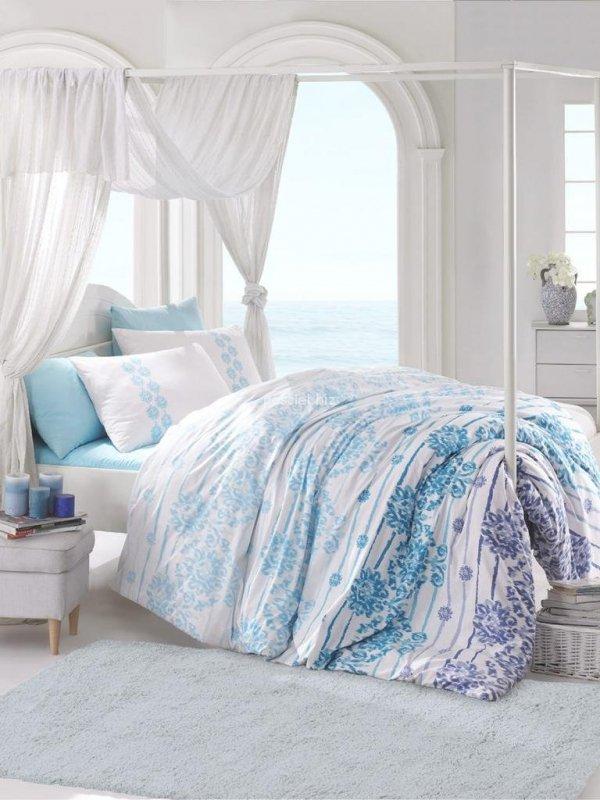 Pościel bawełniana Serenity blue z prześcieradłem 160x200