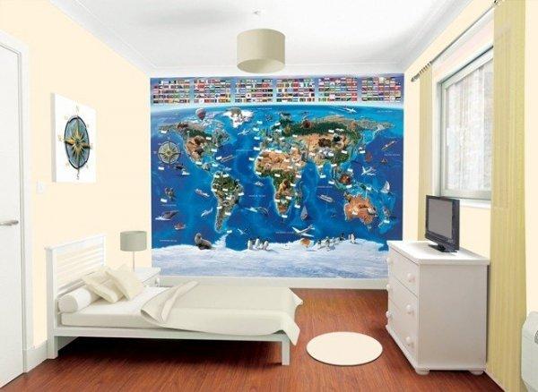 Tapeta 3D Walltastic - mapa świata