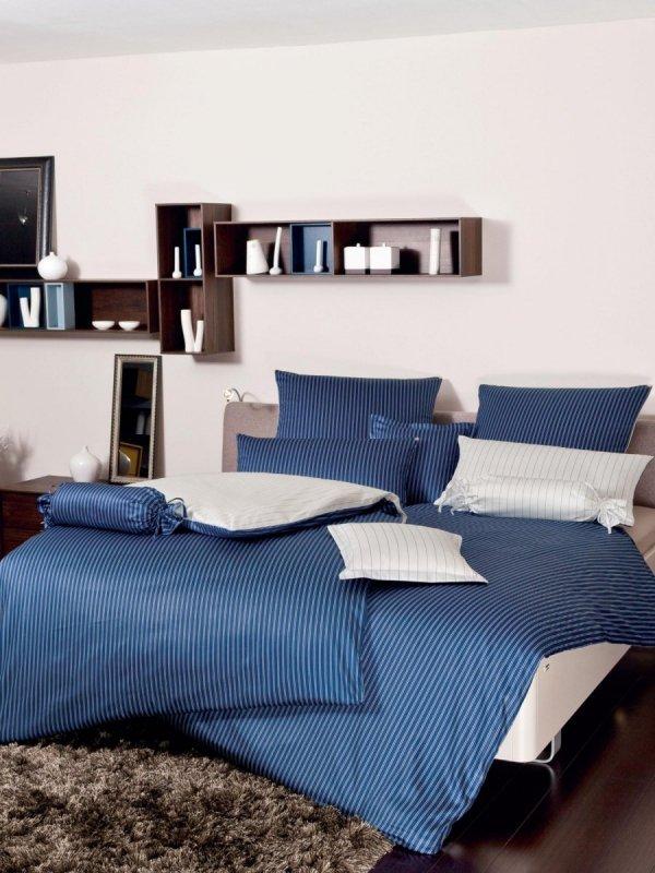Janine  mako-satyna Classic blau w paski 3936 155x200