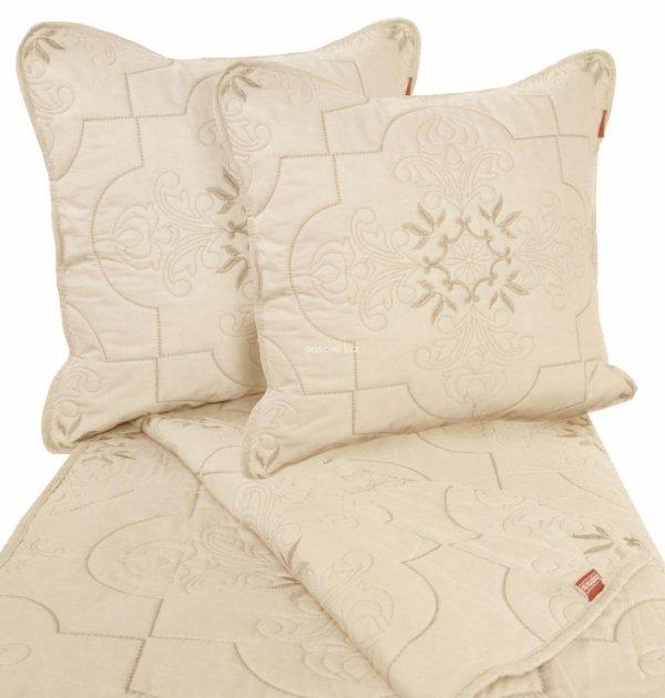 Przepiękna haftowana narzuta bawełniana krem-beż 240x220