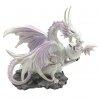 figurki w stylu fantasy - Śnieżna Biała Smoczyca ze Smoczątkiem - smoki