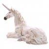 leżący Biały Jednorożec - dekoracyjna figura do domu lub do ogrodu