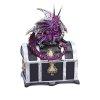 Fioletowy Smok na Skrzyni Skarbów - szkatułka na biżuterię w stylu Gothic Fantasy