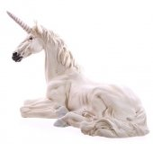 leżący Biały Jednorożec - duża figura dekoracyjna