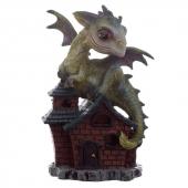 Zielony Smok na domku Opiekun Snów - figurka fantasy wzór nr 1