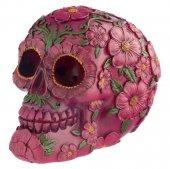 Różowa Czaszka ozdobiona kwiatami - figurka