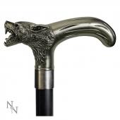 Lyconthrope - elegancka metalowa laska do podpierania z wilkiem