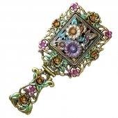 Kwiaty - składane lusterko z rączką
