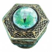 Smocze Oko - sześciokątna szkatułka zielona
