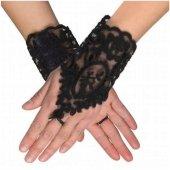 Rękawiczki mitenki z czarnej koronki