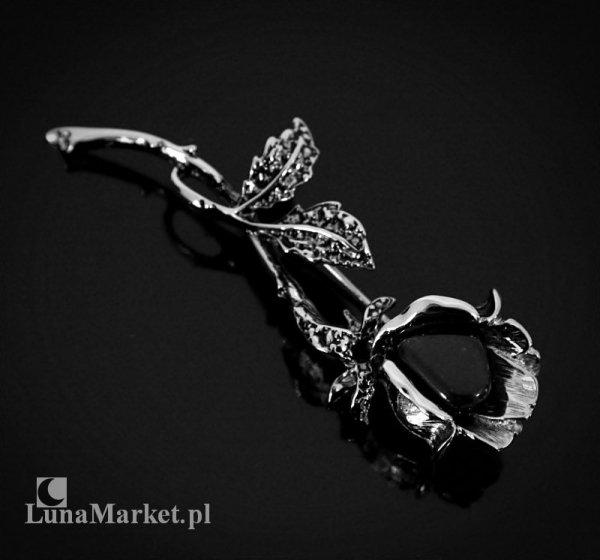 biżuteria z naturalnym onyksem - duża broszka Czarna Róża, gałązka róży z listkami